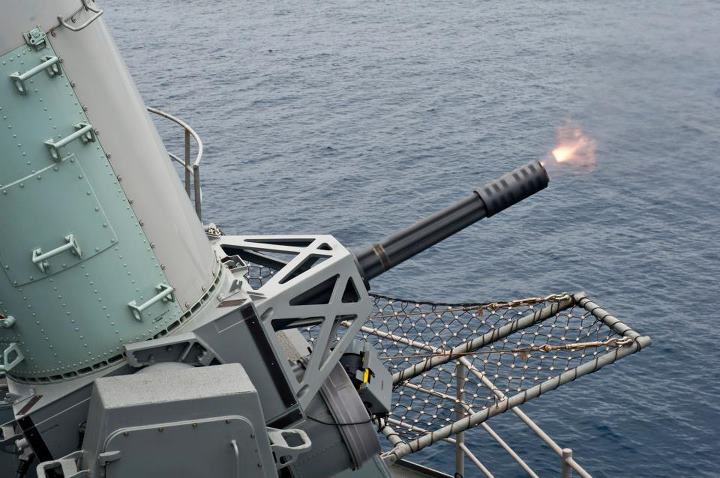 Guns and Military PACIFIC OCEAN (May 6, 2013) A Phalanx Close-in Weapons System (CIWS) fires during a pre-aim calibration exercise aboard the aircraft carrier USS Nimitz (CVN 68). Nimitz and Carrier Strike Group 11 are deployed to the U.S. 7th Fleet area of responsibility