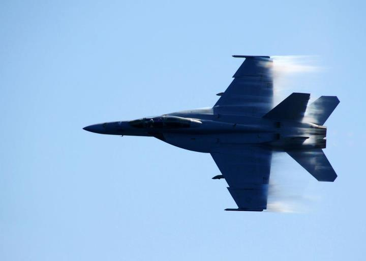 Guns and Military PACIFIC OCEAN (May 8, 2013) An F/A-18F Super Hornet assigned to the Bounty Hunters of Strike Fighter Squadron (VFA) 2 breaks the sound barrier during a fly-by of USS Ronald Reagan (CVN 76). Ronald Reagan is underway conducting flight deck certifications a