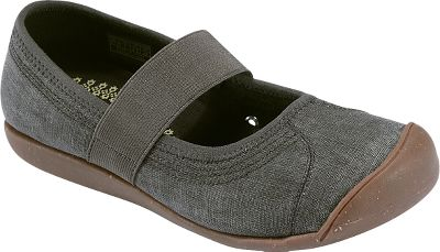 Enjoy the traditional comfort of Mary-Jane-style shoes in a sporty canvas design. Linen uppers and stretchy elastic gore straps make these the perfect choice, regardless of the season. Cork and latex footbeds offer cushioned forgiveness for your feet. Spongy, nonmarking rubber and cork outsoles. Imported.Womens sizes: 5-11 medium width. Half sizes to 11.Colors: Black, Burnt Orange, Dark Earth, Vivid Blue. - $74.99