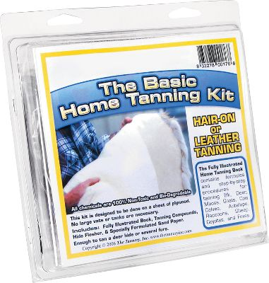 Hunting It took eight years by a professional tanner with 27 years experience to perfect this Basic Home Tanning Kit for you. It gives you the knowledge and tools to complete a hair-on tanning process for an averaged-size deer hide. The entire process is completed on a board, leaves minimal mess and doesnt require large vats or tubs. All chemicals are nontoxic and biodegradable. The Basic Kit includes an instructional book, one bottle of tanning crystals, one bottle of tanning oil, hide scraper and sandpaper. - $47.99