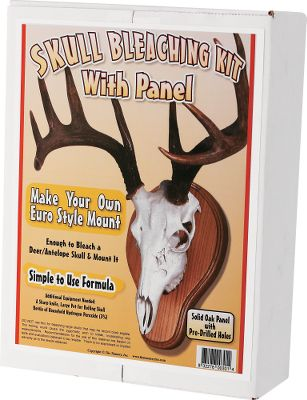 Hunting For anyone looking to bleach their trophy skulls and complete a European mount, this kit has everything you need and even comes with a pre-drilled oak plaque. No harsh chemicals are combined with the bleaching paste and nontoxic degreaser. The kit contains enough ingredients to do two deer skulls or one elk skull, instructions, one bottle of 3S degreaser and one bag of bleaching powder. Color: Oak. - $79.99