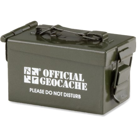 Camp and Hike Use the Groundspeak Mini Ammo Can cache container when you want your cache to have the look and appeal of a traditional ammo can but don't have a lot of space to hide it. Groundspeak Mini Ammo Can cache container measures 1.75 x 1 x 1 in. - $13.95