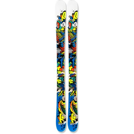 Ski The K2 Juvy twin-tip skis give experienced junior freestylers what they need to bust a move in the park and pipe. Juvy uses the same technology found in the high-performance adult twin-tip skis, but with a flex specifically tailored to junior skiers. Rail slides, tip and tail presses, ollies and big air are all just in a day's work for these do-anything phenoms. Lightweight aspen core flexes easily yet absorbs the impact of hard landings. Cap construction envelops the core and internal materials with the top layer of the ski, keeping overall weight light and durability high. Torsion box design uses a Triaxial-braided wood core to create a high degree of responsiveness, forgiveness and energy transfer. All-Terrain Rocker initiates turns easily and offers agile performance, and normal camber underfoot offers responsive power and tenacious edge hold on firm snow. True twin-tip design lets them ride and land jumps backward. Base or topsheet color may vary from online photo. K2 suggests using the Juvy skis skis for 60% all-mountain and 40% park and pipe skiing. - $129.93
