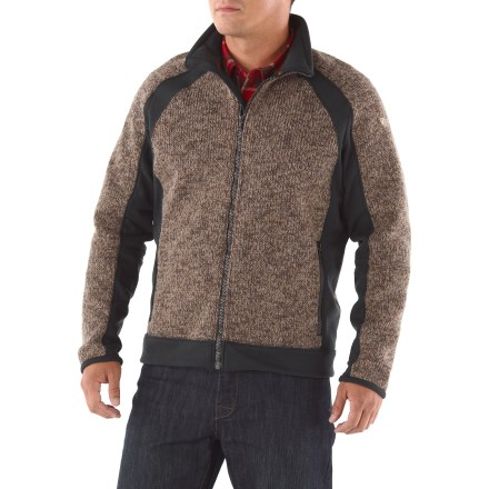 The Kuhl Mondschien jacket is is a striking and remarkable performance piece that can relax at home, in the woods or at the pub. Beautiful Italian heavy gauge wool sweater blend has a bonded microfleece interior for the ultimate in natural warmth and comfort. Side panels, waistband and cuffs are made from soft, stretchy fleece for easy movement. Internal draft flap. Kuhl Mondschien has zip hand warmer pockets. Machine wash cold, delicate cycle; lay flat or hang to dry. - $124.93
