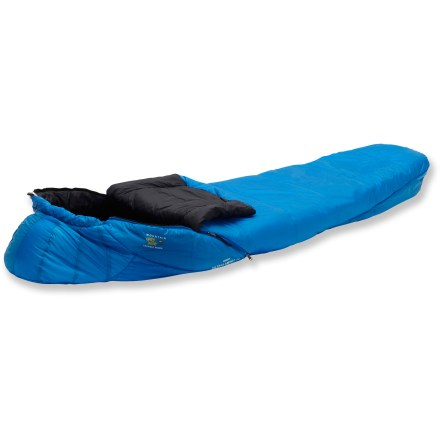 Camp and Hike The Mountain Hardwear Ultralamina 32degF women's long sleeping bag uses synthetic insulation with a welded construction to create a warm, light bag perfect for chilly, damp backpacking trips. Mountain Hardwear women-specific bags are cut specifically for a woman's physique, and provide extra insulation and warmth in the hood and feet areas. Performance mummy cut features a snug overall fit that positions the insulation close to the body, maximizing warmth and minimizing weight without restrictiveness. Welded construction eliminates moisture entry points. Soft, durable and compressible synthetic insulation retains its loft and traps body heat to keep you warm; insulation continues to warm even when wetspots. Dual, 2-way zippers with locking sliders are backed by wide, antisnag binding tape; insulated zipper gusset seals in warmth at base of zipper. Insulated draft tube extends to bottom of bag to eliminate cold spots. Face gasket and tailored hood seal out cold air. Footbox is shaped to allow feet to rest naturally; shape preserves loft and allows insulation to drape close to feet for more warmth. Interior zippered pocket at shoulder stows small necessities such as your watch or lip balm. The Mountain Hardwear Ultralamina 32degF women's long sleeping bag comes with nylon compression stuff sack and mesh storage bag. Closeout. - $126.73