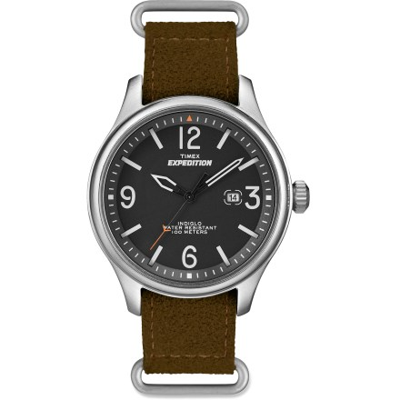 Camp and Hike Handsome and durable, the Timex Expedition Military field watch conjures up the timeless style of World War II aviation instruments. It's equally at home in a cockpit, the office, or the wilderness. INDIGLO(R) Night-Light illuminates the display for easy use at night. Brass case, mineral glass crystal and a water-resistant, 100% recycled ultrasuede polyester band offer durability and comfort. The Timex Expedition Military field watch is water-resistant to 100m (330 ft.). - $64.95