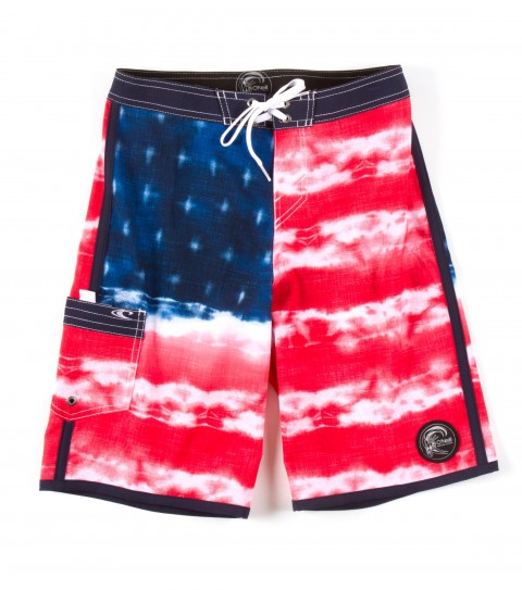 "Surf O'Neill Boys Freedom Boardshorts.  Epicstretch.  19"" outseam; superfly closure; side pouch pocket; edge binding and scalloped hem; circle surfer patch; embroidery and screened logos. - $28.99"
