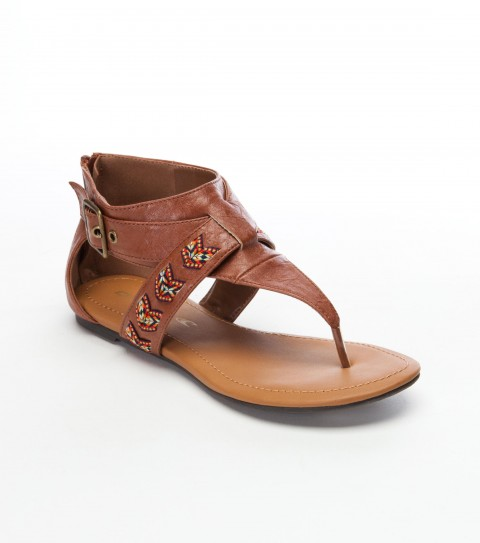 "Surf O'Neill Amanda Sandals.  Faux leather ""T"" strap upper faux; buckle closure; jacquard ribbon laced through top band; faux leather padded and wrapped foot bed; zip at back counter; sandal bottom construction. - $24.99"
