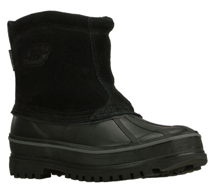 Outsmart the snowy cold weather with the SKECHERS Revine boot.  Waterproof suede and rubber upper in a slip on ankle height waterproof insulated cold weather casual boot with stitching accents. - $93.00