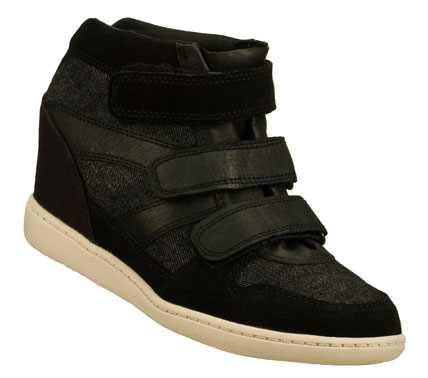 Entertainment Stand tall and look wonderful in the SKECHERS SKCH Plus 3 - Shorty shoe.  Smooth leather; suede; canvas and denim fabric upper in a three strap front casual hidden wedge mid top sneaker with stitching and overlay accents. - $41.25