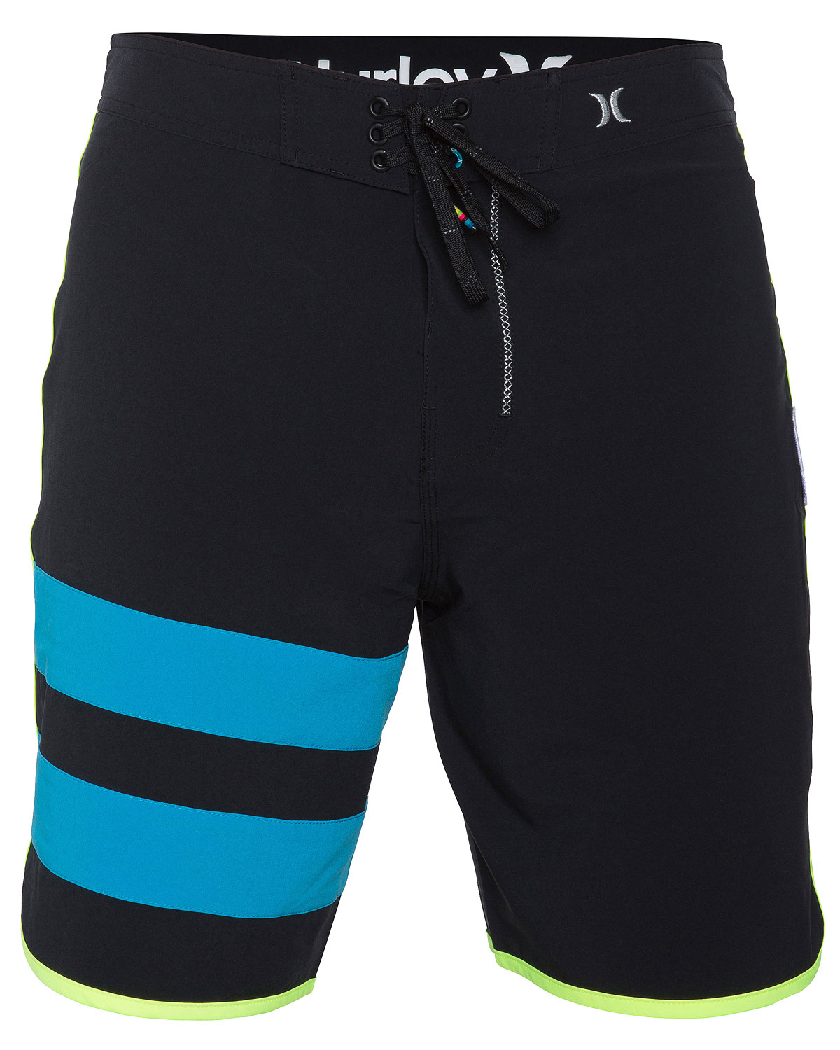"Surf Key Features of the Hurley Phantom 60 Block Party Solid Boardshorts: 19"" true performance fit Recycled phantom 60% stretch Patented ez fly closure Signature foil branding Metallic embroidery Logo patch Performance water repellency No inseam and patch pocket with pocket flap - $38.95"