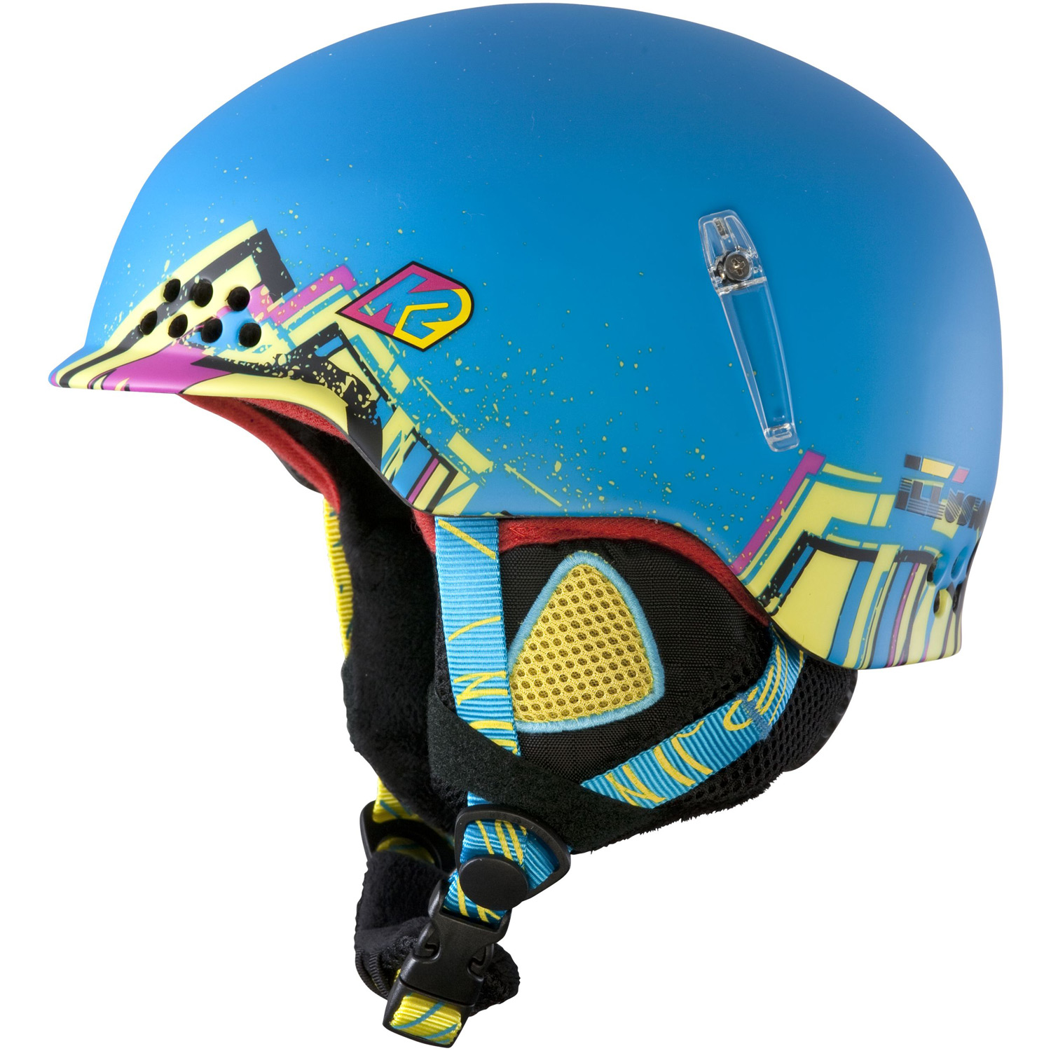 Ski This high performance, lightweight junior helmet screams style and has an amazing fit. This Illusion is real and it offers the protection your little one needs.Key Features of the K2 Illusion Ski Helmet: Weight: 368g Binding Options: Helmet Construction: In Mold Features: Passive Channel Ventilation, K2dialed Fit System, Washable Full-Wrap Liner System, Side Goggle Retention Clips - $62.95