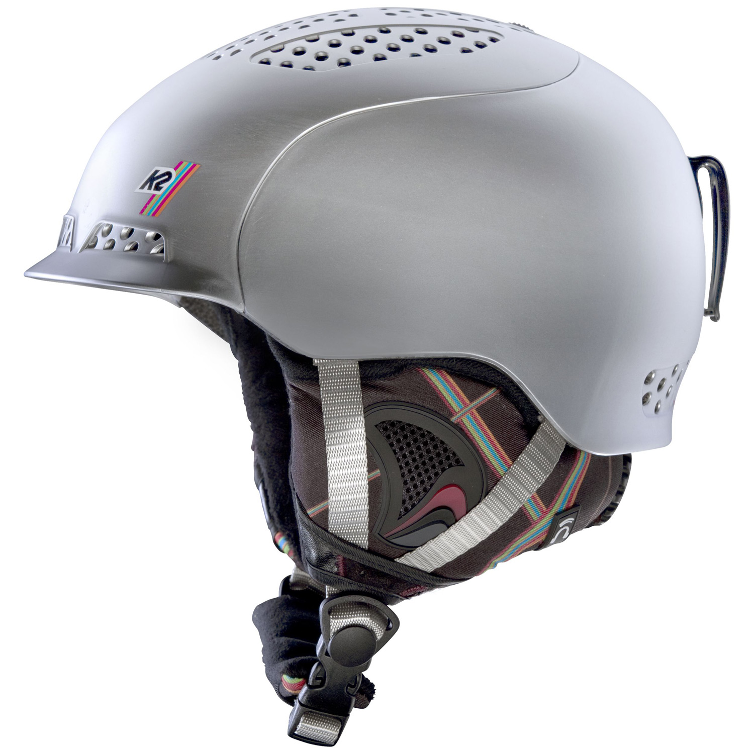 Ski Key Features of the K2 Virtue Ski Helmet:  CONSTRUCTION: Hybrid  FEATURES: Dual Active Matrix Venting, K2dialed Fit System, washable Full-Wrap Liner System, Level 3 Baseline Audio System  SIZES: Small (51-55cm , Med (55-59cm , L/XL (59-62cm   COLORS: Black, Silver  WEIGHT: 430g - $95.95