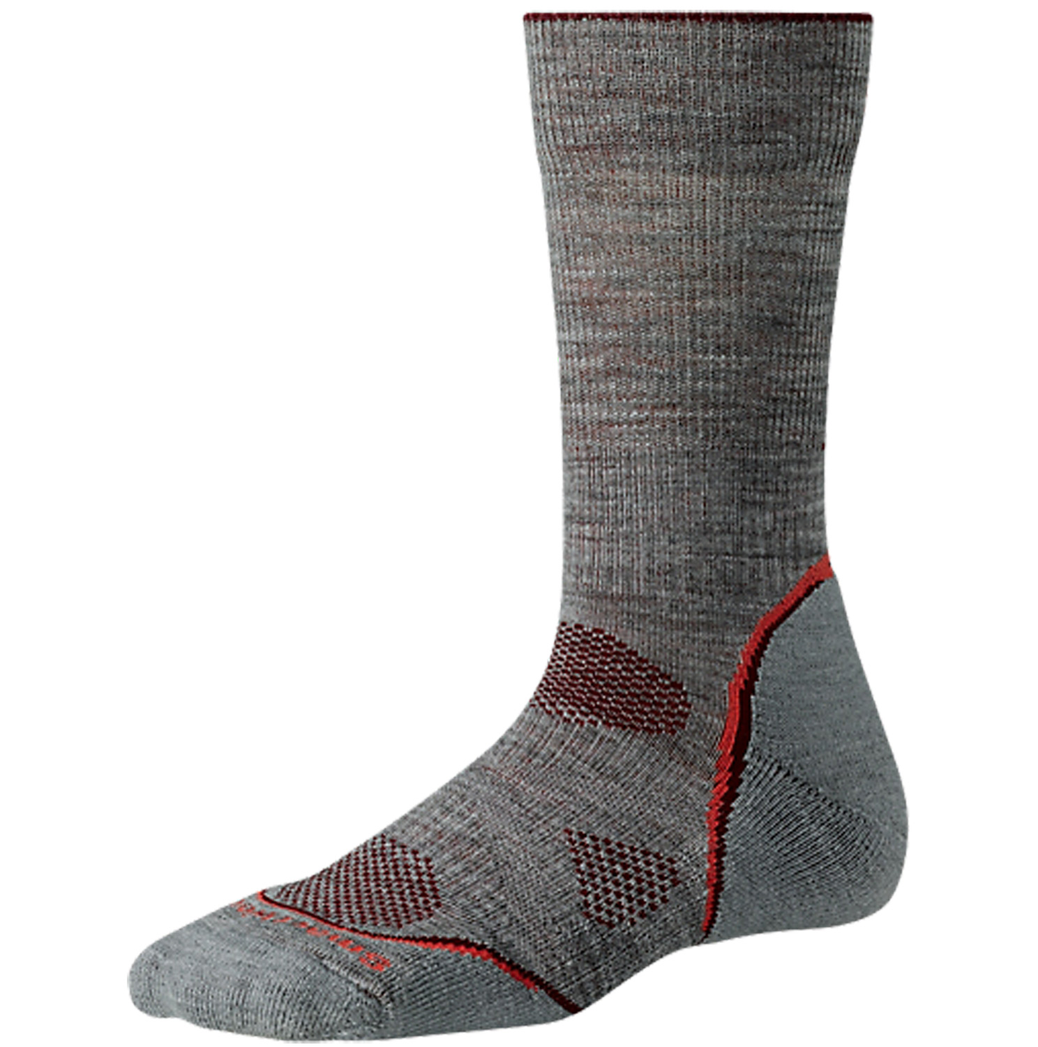 "Featuring a women's specific design, this sock stays in place and offers a light cushion for all-day performance. The padded Achilles tab offers additional protection. ReliaWool Technology in the heel and toe adds more durability than ever before.Key Features of the Smartwool PhD Outdoor Light Crew Socks: Knit in USA of 70% Merino Wool, 28% Nylon, 2% Elastane 4 Degree Elite Fit System uses two elastics for greater stretch and recovery to keep the sock in place Patented ReliaWool Technology in high impact areas provide longer lasting protection to keep feet comfortable Strategically placed mesh ventilation zones provide ventilation for temperature and moisture management 8.5"" overall height - $15.95"