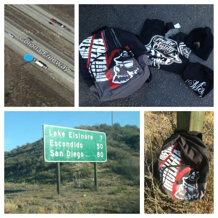 Motorsports Are you coming home from Red Bull X Fighters? We just dumped a bag full of clothing for someone to find on the 15 freeway going south. Find it and tag us in your photo if you claim it!