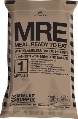 Camp and Hike Prepped and packaged by U.S. military contractors, this three-course, shelf-stable MRE was designed for our troops on the move. For those on outdoor expeditions or preparing in case of emergencies, the retort packaging keeps your meal fresh without preservatives. Intended for field use, the MRE is light, self-contained, impact-resistant, high in energy and great tasting. Includes Flameless Ration Heater to warm up meal. Each Meal Kit Supply MRE includes an entre, side dish, bread or cracker, jam or jelly, dessert, beverage mixes, condiments and spoon. Approximately 1,345 calories per kit. Five-year shelf life. Available: Spaghetti with Meat and Sauce Chili with Beans Vegetarian Ratatouille Chicken with Noodles Beef Ravioli with Meat Sauce Apple Maple Oatmeal - $16.99