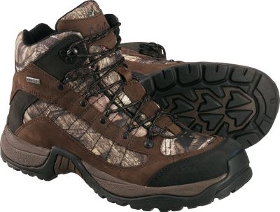 Camp and Hike The GORE-TEX Camo Twin Rivers Hiking Boots are excellent multipurpose hikers that serve you well on the trail. Cloaked in Mossy Oak Break-Up Infinity, your feet will be camouflaged along with the rest of you. Waterproof, breathable GORE-TEX linings keep feet dry. Lightweight and comfortable nubuck and nylon/mesh uppers feature rubber toecaps for abrasion resistance. External nylon shanks extend from the arches into the uppers for increased stability and support. Padded tongues and collars. Removable footbeds. EVAmidsoles. Aggressive rubber outsoles. Imported. Height: 6.5. Average weight: 2.5 lbs./pair. Mens sizes: 8-14 D width; 9-14 EE width. Half sizes to 12. Camo pattern: Mossy Oak Break-Up Infinity. Size: 11.5. Color: Mossy Oak Infinity. Gender: Male. Age Group: Adult. Material: Nylon. - $74.88
