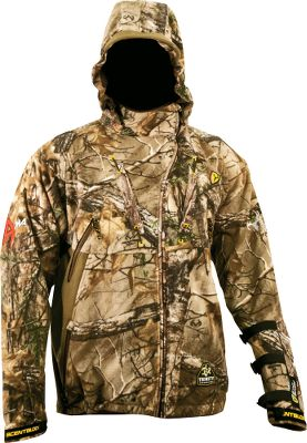 Hunting ScentBlocker Alpha Pro Fleece Jacket is made of Pro Microfleece to combat the drizzling cold. A durable water-repellent treatment keeps moisture out. Soft and quiet fleece linings. Patent-pending ScentBlocker Trinity technology reduces odors. 100% polyester. Equipped with a WindBlocker membrane and adjustable BodyLock waist to seal gusts out. Safety-harness slit, QuickCinch system and a BodyLock harness. Gearpendent Technology on chest for rangefinders, grunt tubes and more. Adjustable, removable armguard for left- or right-hand use. Nonslip grip patches. Imported.Sizes: M-2XL.Camo pattern: Realtree XTRA. Size Medium. Color Realtree Xtra. - $259.99