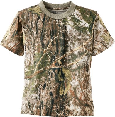 Send your young hunter into the field in Cabelas Youth Short-Sleeve Tee Shirt with 4MOST ADAPT and watch the camo change with the conditions.As the temperature drops, the green, mild-weather pattern transforms to muted shades of brown.As the temperature warms back up, the pattern changes back to shades of green. Designed for the young hunter who demands superior comfort and performance during mild early-season hunts without sacrificing the durability to withstand long days afield. Ribbed neck adds durability and retains shape. Made of 100% cotton. Machine washable. Imported. Sizes: S-XL. Camo pattern: Cabelas Zonz Woodlands. Size: Large. Color: Zonz Woodlands. Age Group: Kids. Pattern: Camo. Material: Cotton. - $24.99