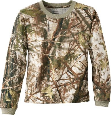 Send your young huner into the field in Cabelas Youth Long-Sleeve Tee Shirt with 4MOST ADAPT into the field and watch the camo change with the conditions. As the temperature drops, the green, mild-weather pattern transforms to muted shades of brown. As the temperature warms back up, the pattern changes back to shades of green. Designed for the young hunter who demands superior comfort and performance during mild early-season hunts without sacrificing the durability to withstand long days. Shell is made of cotton knit jersey. Rib-knit collar and cuffs are made of 95/5 cotton/spandex. Rugged double-needle stitching at hem. Imported. Sizes: S-XL Camo pattern: Cabelas Zonz Woodlands. Size: MEDIUM. Color: Zonz Woodlands. Age Group: Kids. Pattern: Camo. Material: Spandex. Type: Long-Sleeve Tee Shirts. - $7.88