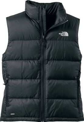 Fitness The North Face Aconcagua vest features a tough 53/47 recycled polyester/bluesign-approved polyester ripstop shell and premium 550-fill goose-down insulation to provide crucial warmth at your core. Its zip-in compatible with other TNF garments, so wear it alone or layered with other garments. There are two secure-zip hand pockets vest stows in its left-hand pocket. Machine wash. Imported.Sizes: M-2XL.Color: TNF Black. - $99.00