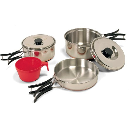 Camp and Hike The Outbound Carmanah nesting cookset includes a fry pan and two high-quality stainless steel pots with durable copper bottoms so you can cook great meals in the backcountry for years to come. Cookset includes a 5.75 in.-diameter frying pan, a 1 liter pot with lid, a 0.75 liter pot with lid, a plastic cup and a nylon carry bag. Built-in handles on the frying pan and pots fold in when not in use. Small pot nests inside the larger one, which in turn nest in the frying pan for compact storage and easy carrying to the campsite or clean-up area. Closeout. - $27.73