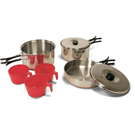 Camp and Hike The large Outbound Carmanah cookset helps you make meals for a tentful of hungry hikers. Made of stainless steel with copper bottoms, the pots and fry pan distribute heat well and endure regular use. Cookset includes a 7 in.-diameter frying pan, a 1.8 liter pot with lid, a 1.4 liter pot with lid, 3 plastic cups and a nylon carry bag. Built-in handles on the frying pan and pots fold in when not in use. Small pot nests inside the larger one, which in turn nest in the frying pan for compact storage and easy carrying to the campsite or clean-up area. Closeout. - $32.73