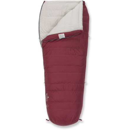 Camp and Hike Free your feet from the tight fit of your mummy bag and switch to the roomy Sierra Designs Marion 30 women's down sleeping bag. Semi-rectangular shape with ergonomic footbox enhances comfort by giving your feet more space than a mummy bag but holds more warmth around shoulders than a rectangular bag. 550-fill-power down insulation provides cozy warmth; trapezoidal baffle construction keeps down evenly distributed to prevent cold spots. Ripstop nylon shell guards against the wear and tear of camping; polyester lining feels soft against skin. Pad loops provide attachment points to keep your sleeping bag and pad together to avoid rolling off onto the cold ground (straps not included). Includes stuff sack and storage bag. Suited for temperatures as cold as 30degF, -1degC. The Sierra Designs Marion sleeping bag accommodates heights up to 5 ft. 6 in. tall. Closeout. - $49.73