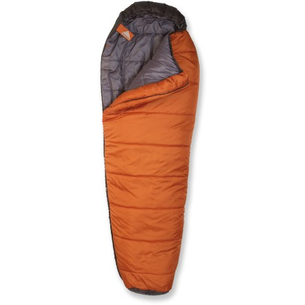 Camp and Hike WIth the Kelty Little Tree +20 mummy bag keeping them snug and warm, your little campers are sure to enjoy a good night's sleep that will set them up for an even better day of adventure. 2-layer offset quilted construction with an extra layer over the chest maximizes the warmth of the lightweight, durable CloudLoft(TM) synthetic insulation. Synthetic insulation nearly matches the warmth of goose down but continues to insulate even when wet, making it ideal for camping or backpacking in damp conditions. Features a tough ripstop nylon shell with a soft polyester taffeta lining. Full-length, 2-way, locking zipper is backed by a full-length draft tube to keep cold air from seeping through; unzip and open flat for use as a blanket. Pad loops provide attachment points to keep your sleeping bag and pad together so you don't roll off onto the cold ground (straps not included). Hang loops allow easy drying and storage. Closeout. - $47.73