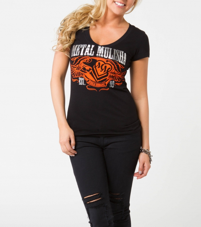 Motorsports Metal Mulisha Maidens tee.  100% Cotton. V-neck tee with screenprint. - $18.99