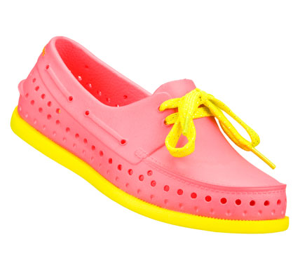 Entertainment She'll want to live in the SKECHERS Cali Gear Finders Keepers shoe.  Soft flexible sculpted Nano Lite plastic foam upper in a slip on casual boat shoe with sculpted detail and cooling perforations. - $18.00