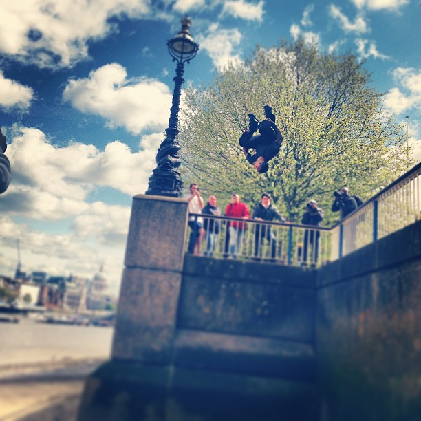 Parkour Beau flying through the sky at south bank. 47 year old freerunner, stronger then most and getting better every week #salute