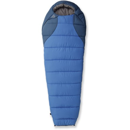 Entertainment With a design suited to a woman's frame, the Asolo +20 Brindisi sleeping bag uses lofty synthetic insulation and an efficient mummy shape to keep you warm and comfortable. High-loft synthetic insulation traps body heat to surround you with warmth and continues to insulate even if it gets wet. Efficient mummy cut features a tapered shape that holds the insulation close to your body to maximize warmth and keep cold air out. 2-way zipper extends to bottom of bag to allow venting near the feet; draft tube holds warmth in. Pillow pocket; inside zippered pocket. Asolo Brindisi +20 sleeping bag comes with a compression stuff sack for compact packing. Closeout. - $69.73