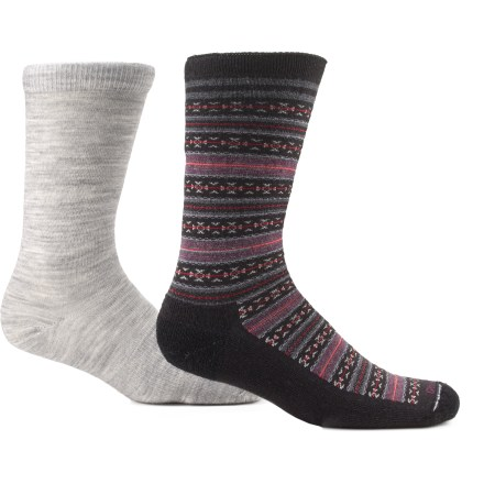 The Goodhew FunIsle / Skinny Minnie 2-Pack collection gives you 2 great styles for 1 great price! They are designed for comfortable, everyday performance. Goodhew socks are also crafted on state-of-the-art machinery in American mills and made from homegrown, beautiful-quality merino wool. Merino/bamboo fiber blend balances the softness, durability and heat-regulating properties of merino wool with naturally antimicrobial and luxurious bamboo. Spandex is used throughout the entire sock to ensure a snug fit all day long and to prevent slipping inside shoes. Flat toe seams ensures you don't even notice they're there for the ultimate comfort. FunIsle socks have medium-cushioned bottoms, and feature roll-tops and Y-heel construction. Skinny Minnie socks have a non-cushioned design, and feature additional arch support and turn welt tops. Fabric content for Skinny Minnie's: 30% merino wool/30% bamboo from viscose/35% stretch nylon/5% spandex. *Discount will be applied when you check out. Offer not valid for sale-price items ending in $._3 or $._9. Please note: a package of 2 pairs counts as 1 pair of socks for the 10% volume discount. - $12.83