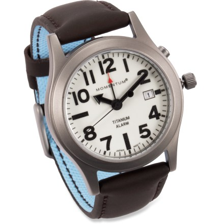 Camp and Hike The Momentum Pathfinder II watch features a clean design, analog alarm and lightweight titanium body and leather strap. It looks great on your wrist, no matter where your adventure takes you. - $185.00