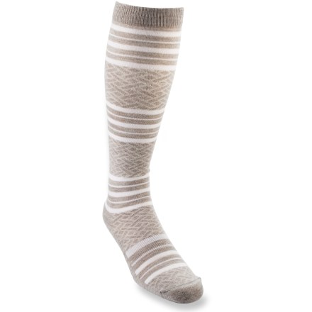 The REI Bella socks offer everyday comfort in a fun, casual style. Their knee-high length is ultra versatile. REI Bella Knee-High sock bottoms are padded with lightweight terry; legs and tops of feet are a slim flat-knit. Merino wool naturally regulates temperature in any climate, wicks moisture and resists odors. Stretch nylon provides durability; Lycra(R) spandex enhances flexibility and improves fit. Flat toe seams prevent chafing. Machine wash inside out in cold water, gentle cycle; do not iron or dry clean. *Discount will be applied when you check out. Offer not valid for sale-price items ending in $._3 or $._9. - $8.93