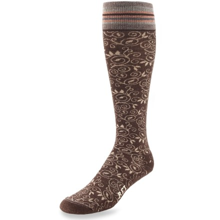 The REI Autumn Embossed socks offer everyday comfort in a fun, casual style. Their knee-high length is ultra versatile. REI Autumn Embossed sock bottoms are padded with lightweight terry; legs and tops of feet are a slim flat-knit. Merino wool naturally regulates temperature in any climate, wicks moisture and resists odors. Stretch nylon provides durability; Lycra(R) spandex enhances flexibility and improves fit. Flat toe seams prevent chafing. Machine washable. *Discount will be applied when you check out. Offer not valid for sale-price items ending in $._3 or $._9. - $8.93