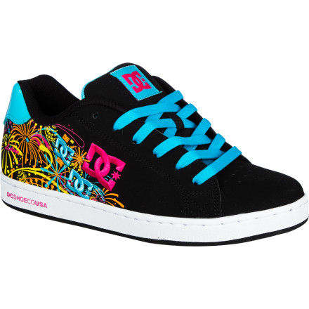 Skateboard Let your style shine bright like explosions in the sky with the DC Pixie Fireworks Women's Skate Shoe. The embroidered fireworks logo on the leather upper gives it a fun, festive look, and the lightweight, high-rebound UniLite midsole ensures all-day cushioning and comfort. - $52.00