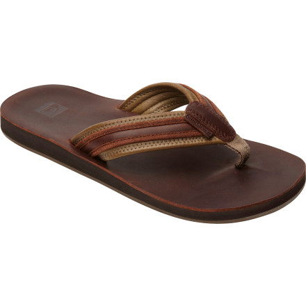 Surf Renovate your style at the beach this summer with the help of the Quiksilver Renovation 3 Men's Flip Flop. It's made with full-grain leather to provide a classy look and a comfy fit so you feel as good as you look. - $52.00