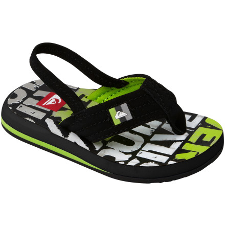 Surf Your little man squirms around when he has to wear shoes in hot weather, so slip the Quiksilver Toddler Boys' Foundation Cush Flip Flop on his foot instead. This sandal feels soft against his foot, and when he's teetering around grandma's house, the cushy footbeds will keep his tiny feet comfortable. - $14.40