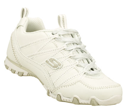 Class up her look instantly with the SKECHERS Bikers II - School Skillz shoe.  Smooth leather and synthetic upper in a lace up casual sneaker with stitching; overlay and perforation accents. - $40.00