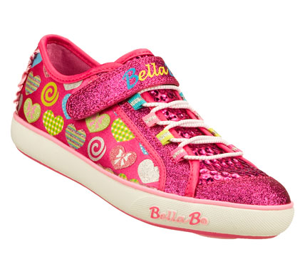 The beat goes on and on in the SKECHERS Bella Ballerina: Curtsies - Sugarspin shoe.  Soft satiny fabric upper with colorful heart print in a slip on casual bungee laced sneaker with stitching and overlay accents.  Fun spinning disk feature on sole. - $39.00