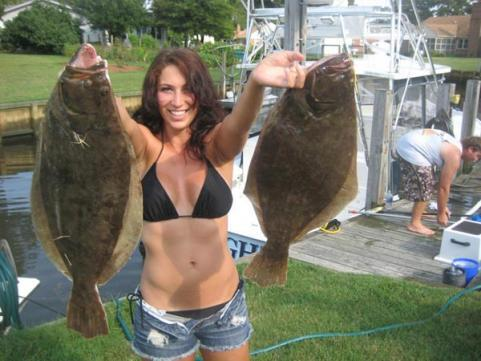 Fishing Ashley Fields with two flounder caught in the Chesapeake Bay in Virginia Beach