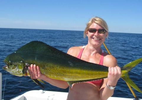 Fishing Crystal Allen with her dorado caught off Hudson Canyon, New Jersey