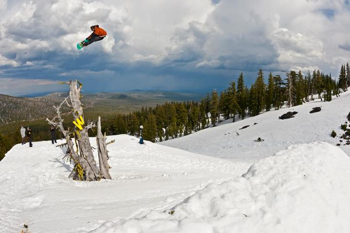 Snowboard Rome Northwest shred Jeff Hopkins boosting an FS 3 on the Woodward step up at Superpark 17 last week. 