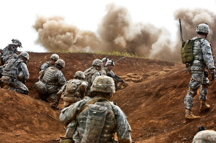 Guns and Military Soldiers of the Bronco Brigade, 3rd BCT 25th ID, participate in the Bronco Rumble May 8 on Schofield Barracks, Hawaii. The Bronco Rumble is a company level combined arms live fire exercise designed to develop leaders and service members with critical thin