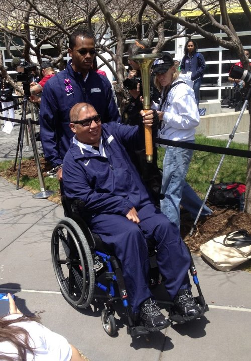 Guns and Military COLORADO SPRINGS, Colo. (May 11, 2013) Retired Boatswain's Mate 1st Class Jim Castaneda carried the torch for Team Navy during the Opening Ceremonies of the 2013 Warrior Games. He was accompanied by his friend and teammate Hospital Corpsman 3rd Class Ange