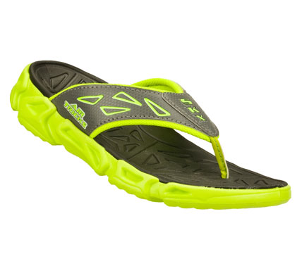 Surf He'll have the coolest style in hot weather with the SKECHERS Air-Mazing Kid: Fierce Flopz sandal.  Synthetic and mesh fabric upper in a sporty casual flip flop comfort thong sandal with stitching and overlay accents. - $25.00