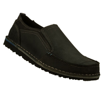 Easygoing style and even easier comfort comes in the SKECHERS Relaxed Fit(R): Golson - Belton shoe.  Smooth oiled leather upper in a slip on casual moc toe loafer with stitching and overlay accents. - $59.00
