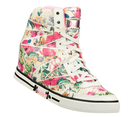 Entertainment Fun and feminine style is in full bloom in the Daddy'$ Money: Cha-ching - Pure Joy shoe.  Colorful floral print leather and fabric upper in a lace up casual hidden wedge high top sneaker with stitching and overlay accents. - $41.25